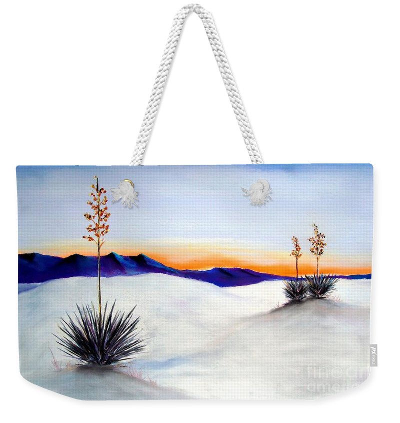 White Sands Weekender Tote Bag featuring the painting White Sands by Melinda Etzold