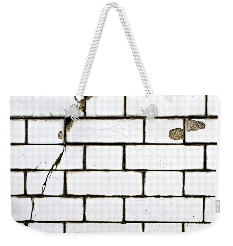 Abstract Weekender Tote Bag featuring the photograph White Tiles by Tom Gowanlock