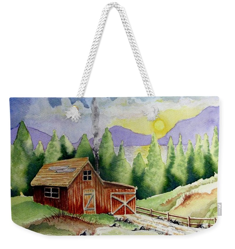 Cabin Weekender Tote Bag featuring the painting Wilderness Cabin by Jimmy Smith