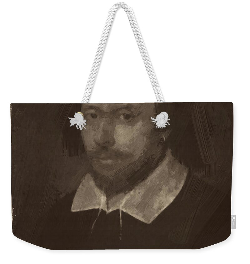 William Shakespeare Weekender Tote Bag featuring the digital art William Shakespeare by Afterdarkness