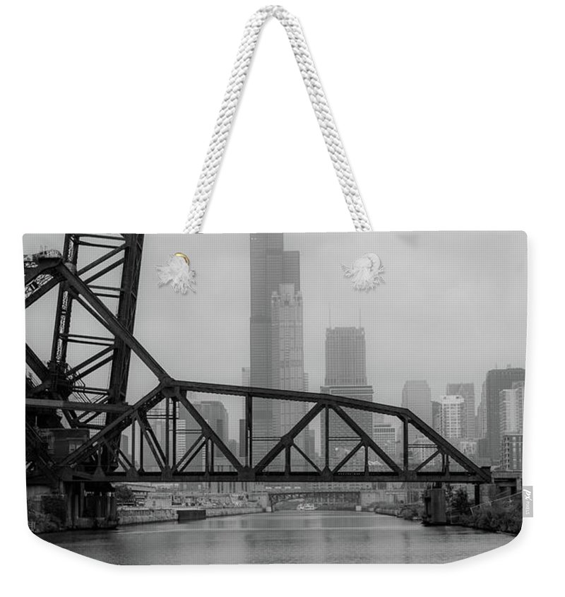 Chicago Weekender Tote Bag featuring the photograph Willis Tower In Fog by Anthony Doudt
