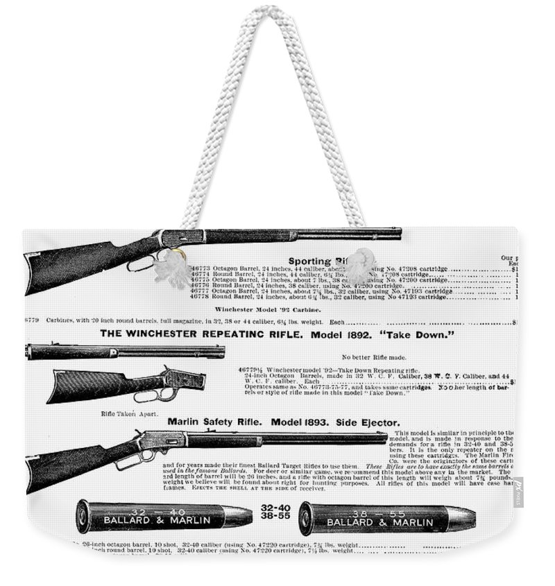 1895 Weekender Tote Bag featuring the photograph Winchester Rifles by Granger