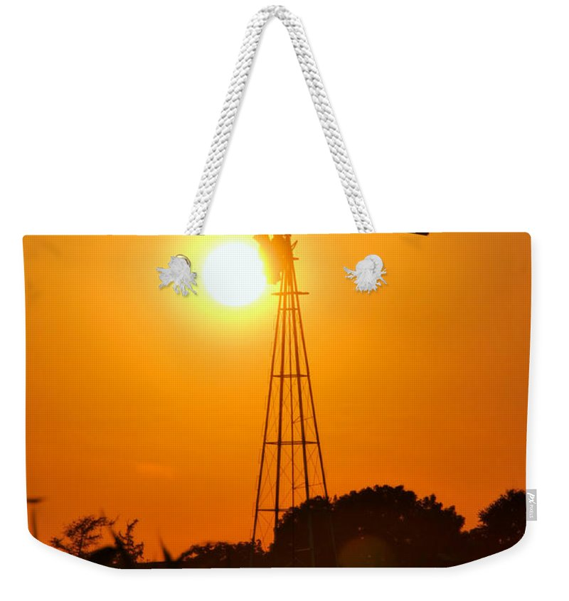 Sunset Weekender Tote Bag featuring the photograph Windmill by George Mattei