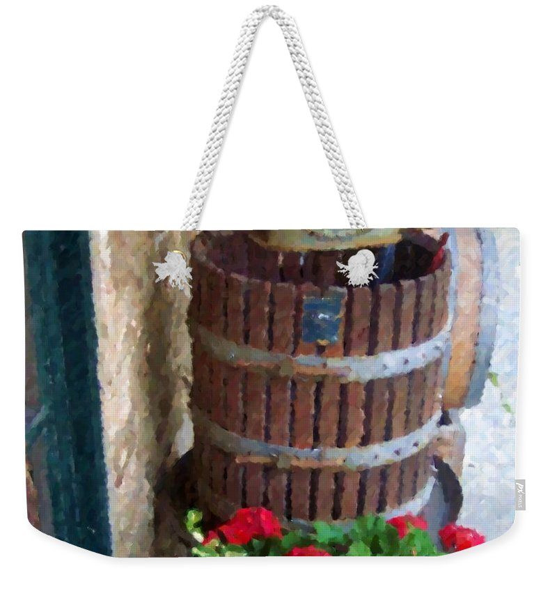 Geraniums Weekender Tote Bag featuring the photograph Wine And Geraniums by Debbi Granruth