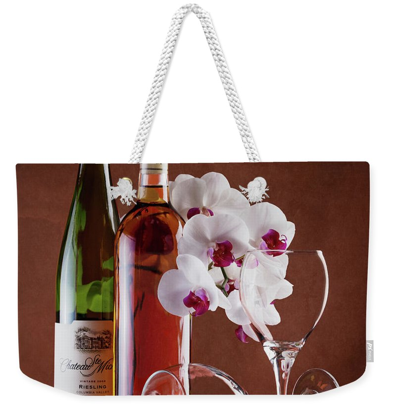 Alcohol Weekender Tote Bag featuring the photograph Wine And Orchids Still Life by Tom Mc Nemar