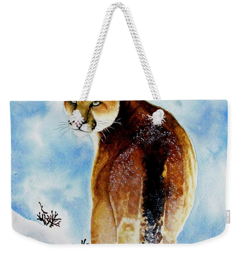 Cougar Weekender Tote Bag featuring the painting Winter Cougar by Jimmy Smith