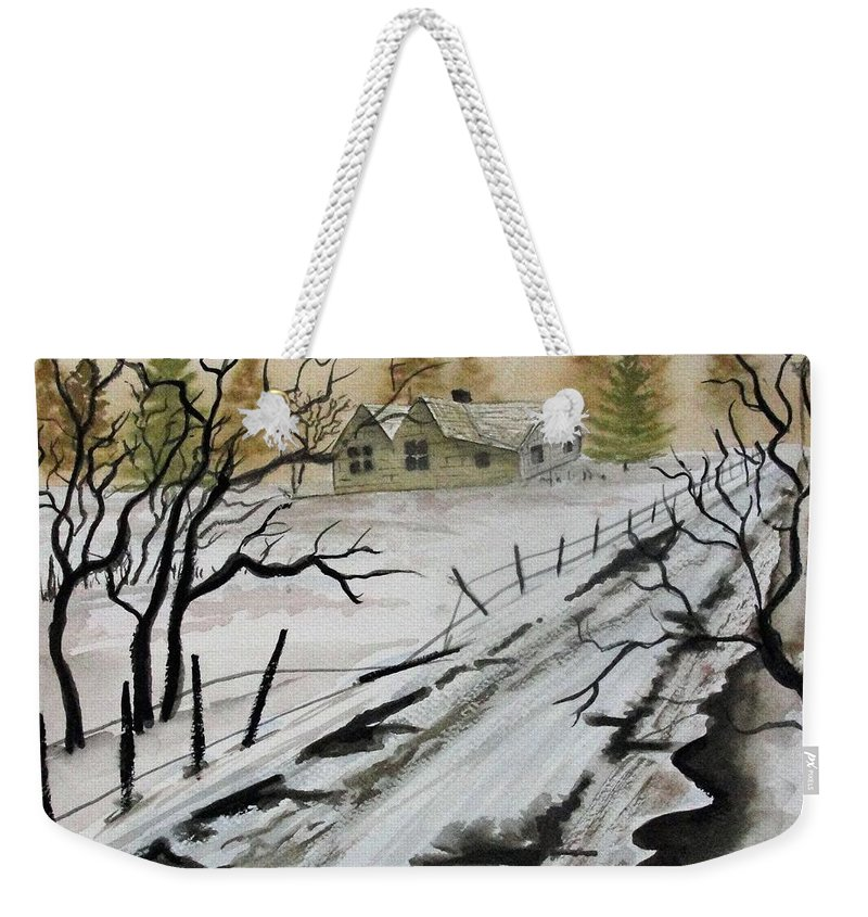 Building Weekender Tote Bag featuring the painting Winter Farmhouse by Jimmy Smith