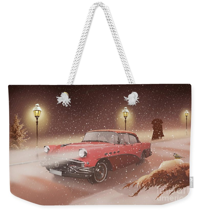 Retro Weekender Tote Bag featuring the mixed media Winter Romance by Monika Juengling