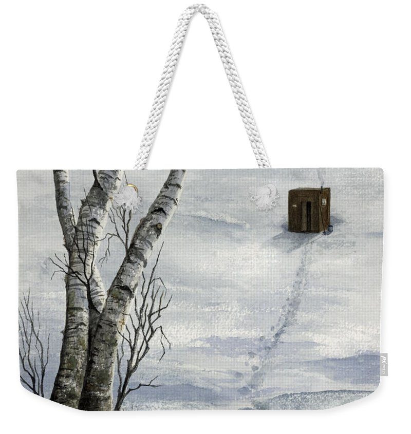 Fishing Weekender Tote Bag featuring the painting Winter Splendor by Mary Tuomi