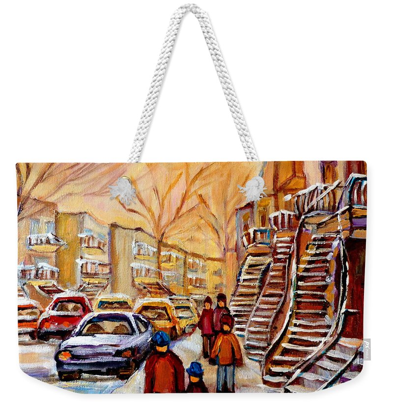 Montreal Weekender Tote Bag featuring the painting Winter Walk In Montreal by Carole Spandau