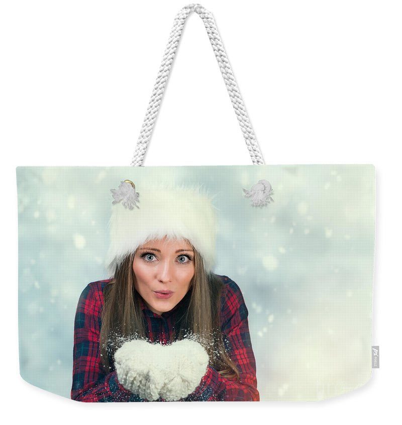 Young Weekender Tote Bag featuring the photograph Winter Wonderland by Amanda Elwell