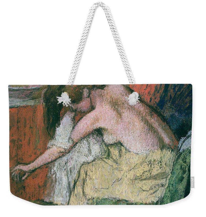 Woman Weekender Tote Bag featuring the pastel Woman Drying Herself by Edgar Degas