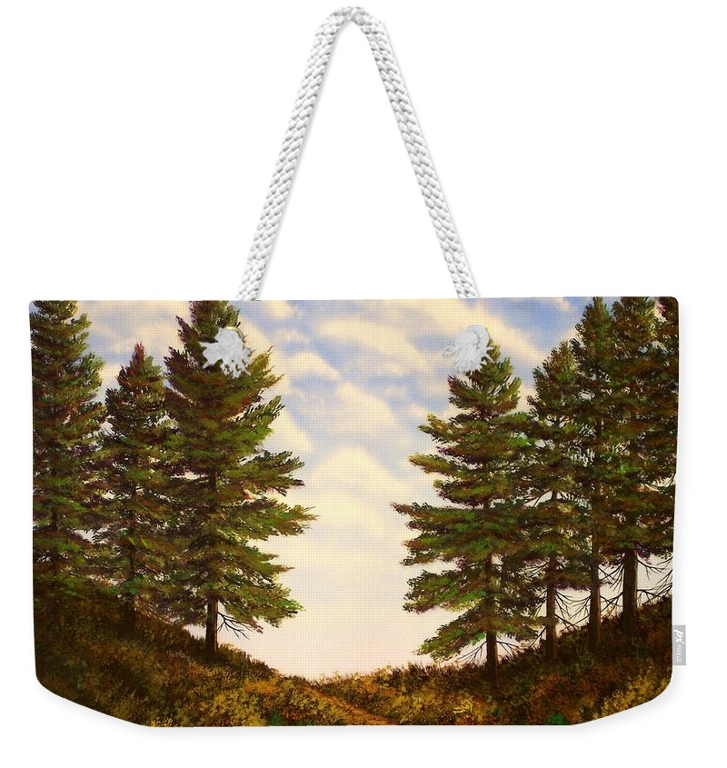Wooded Path Weekender Tote Bag featuring the painting Wooded Path by Frank Wilson