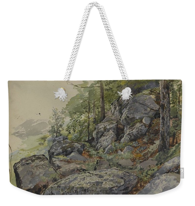 William Trost Richards (american Weekender Tote Bag featuring the painting Woodland Boulders by William Trost