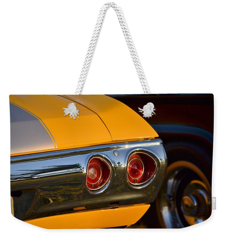Weekender Tote Bag featuring the photograph Yellow Chevy by Dean Ferreira