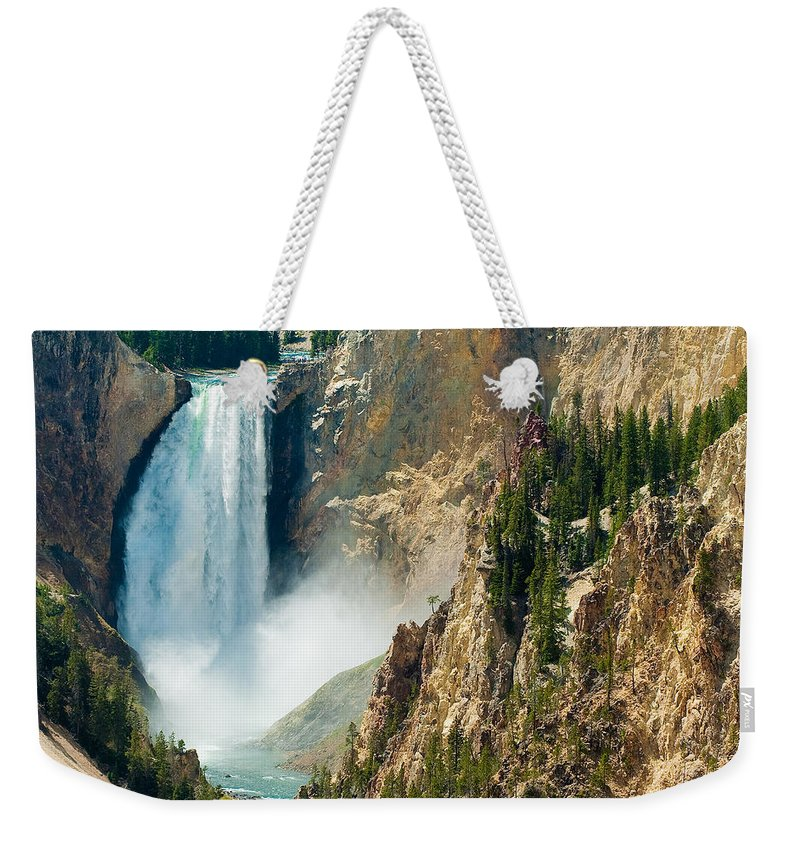 Yellowstone Weekender Tote Bag featuring the photograph Yellowstone Waterfalls by Sebastian Musial