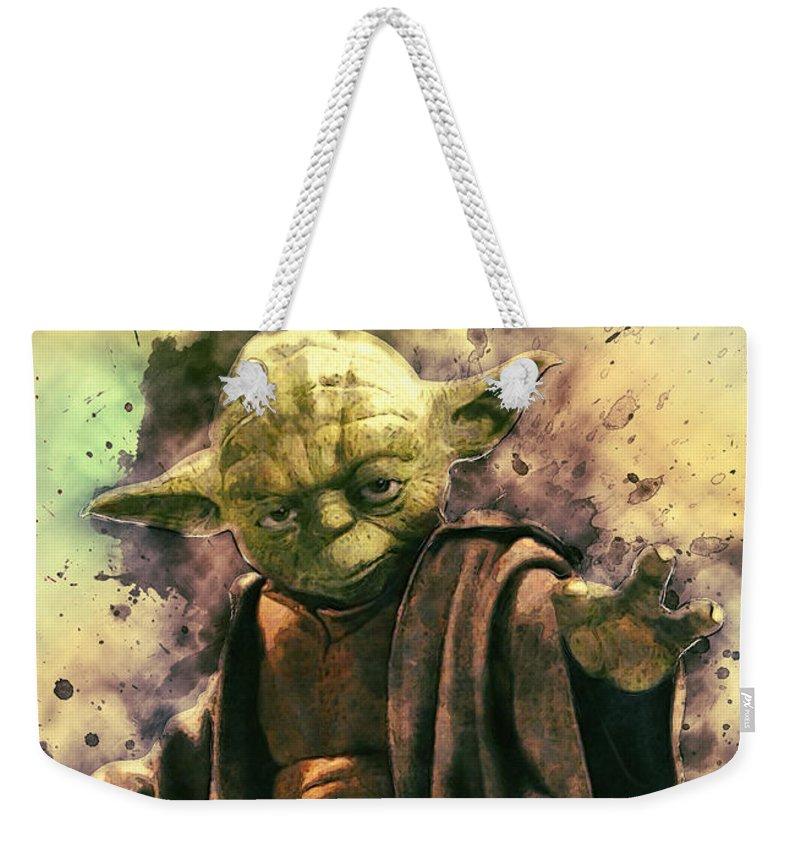 Yoda Weekender Tote Bag featuring the digital art Yoda by Zapista Zapista