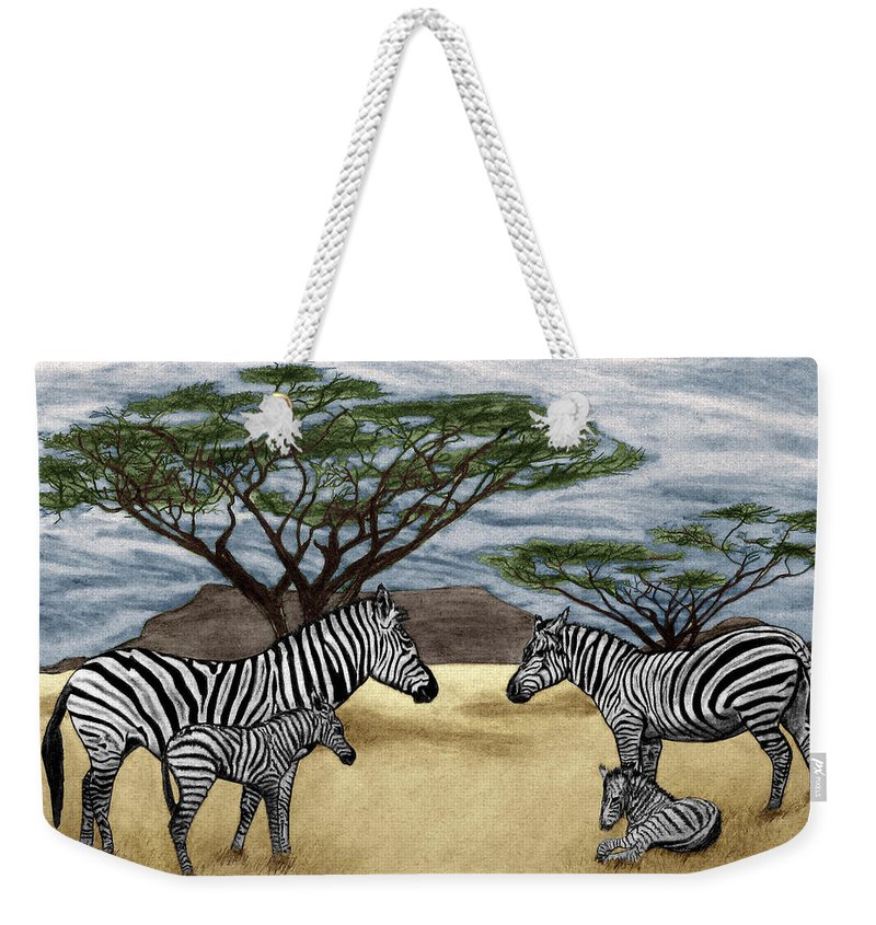 Zebra African Outback Weekender Tote Bag featuring the drawing Zebra African Outback by Peter Piatt