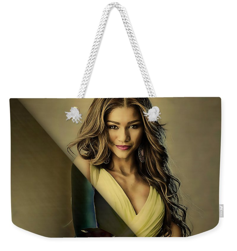 Zendaya Weekender Tote Bag featuring the mixed media Zendaya Collection by Marvin Blaine