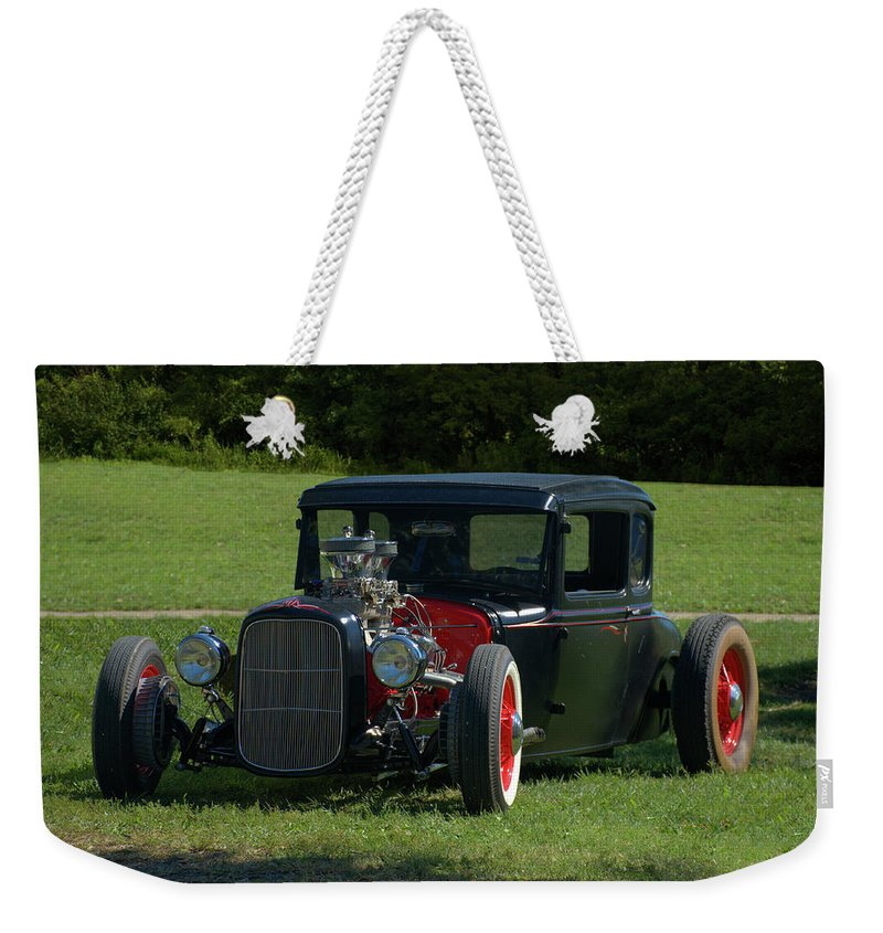1930 Weekender Tote Bag featuring the photograph 1930 Ford Coupe Hot Rod by Tim McCullough