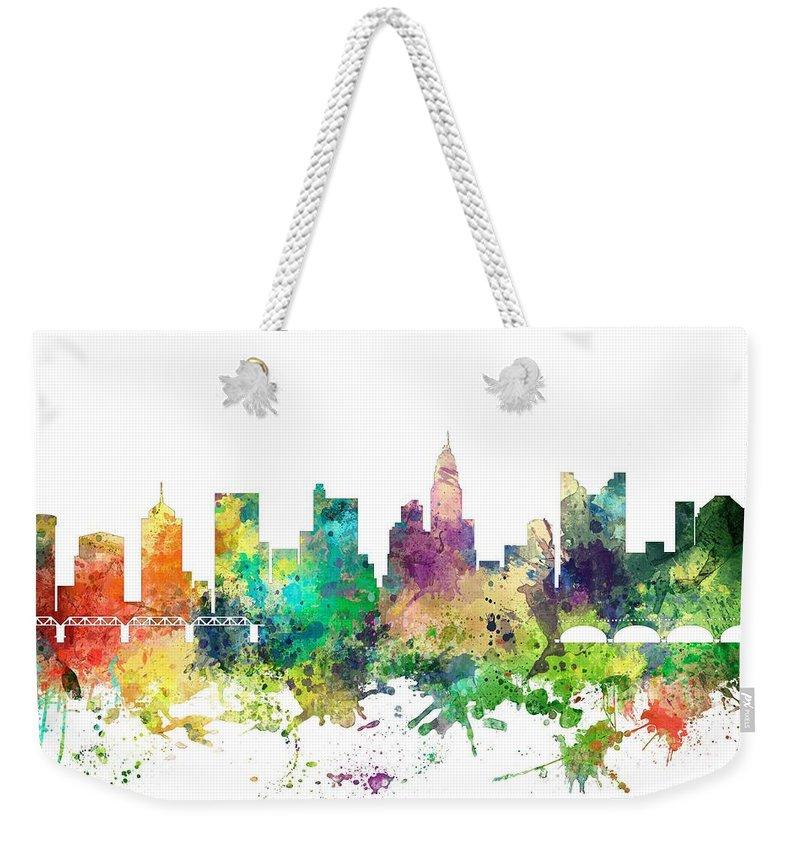 Columbus Ohio Skyline Weekender Tote Bag featuring the digital art Columbus Ohio Skyline by Marlene Watson