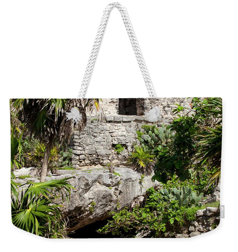 Ancient Weekender Tote Bag featuring the photograph Mayan Temples At Tulum, Mexico by Anthony Totah