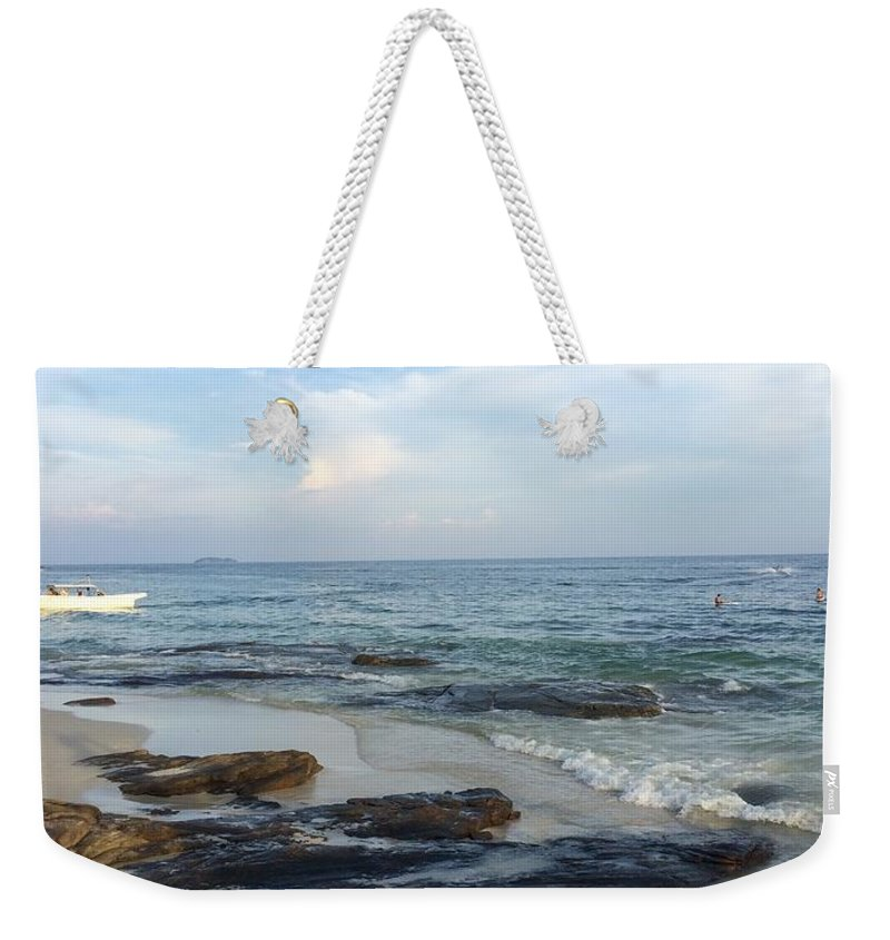 Beach Beauty In Nature Calm Cloud Cloud - Sky Coastal Feature Coastline Horizon Over Water Majestic Nature Non-urban Scene Outdoors Rock Formation Scenics Sea Seascape Shore Sky Tourism Tranquil Scene Tranquility Travel Destinations Vacations Water Wave � In Rayong Weekender Tote Bag featuring the photograph Photographs by Suntaree Nujai