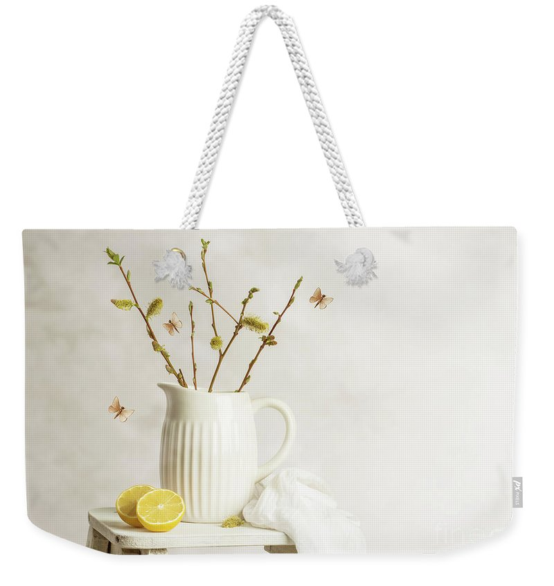 Pretty Weekender Tote Bag featuring the photograph Spring Still Life by Amanda Elwell
