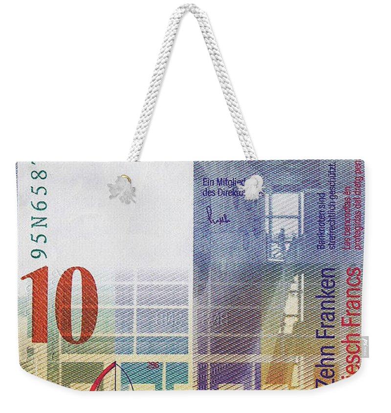 'paper Currency' By Serge Averbukh Weekender Tote Bag featuring the digital art 10 Swiss Franc Bill by Serge Averbukh
