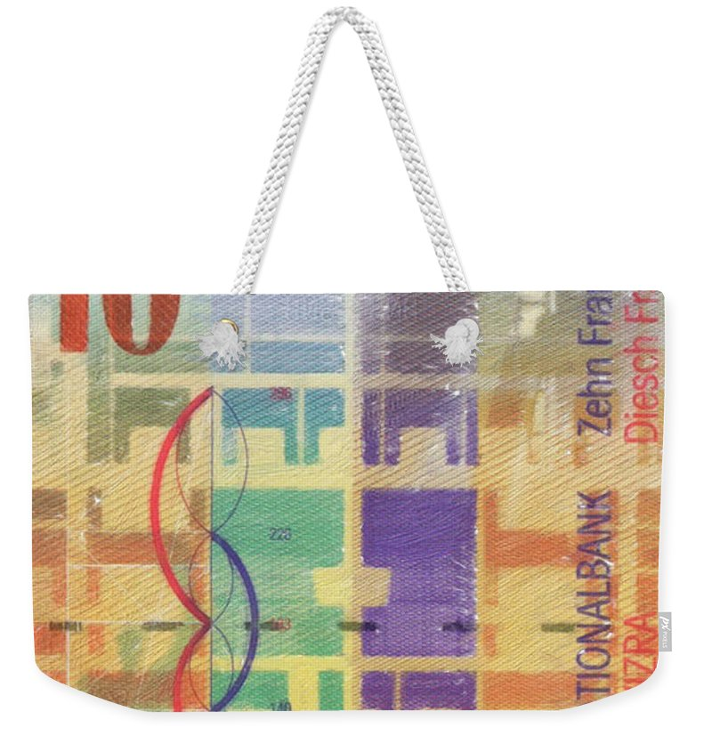 'paper Currency' Collection By Serge Averbukh Weekender Tote Bag featuring the digital art 10 Swiss Franc Pop Art Bill by Serge Averbukh