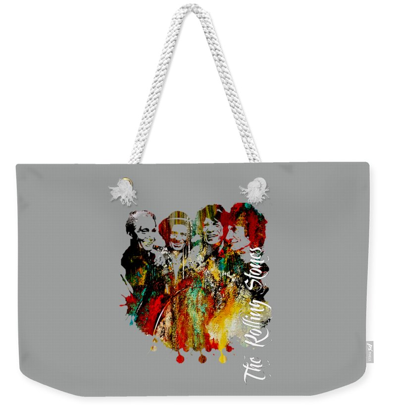 Mick Jagger Weekender Tote Bag featuring the mixed media The Rolling Stones Collection by Marvin Blaine