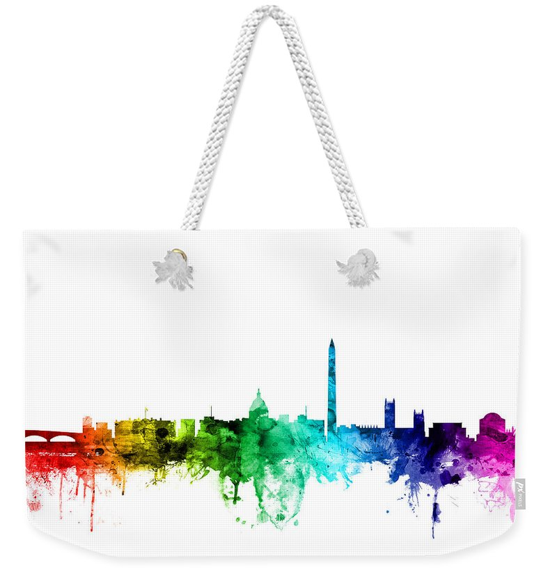 United States Weekender Tote Bag featuring the digital art Washington Dc Skyline by Michael Tompsett