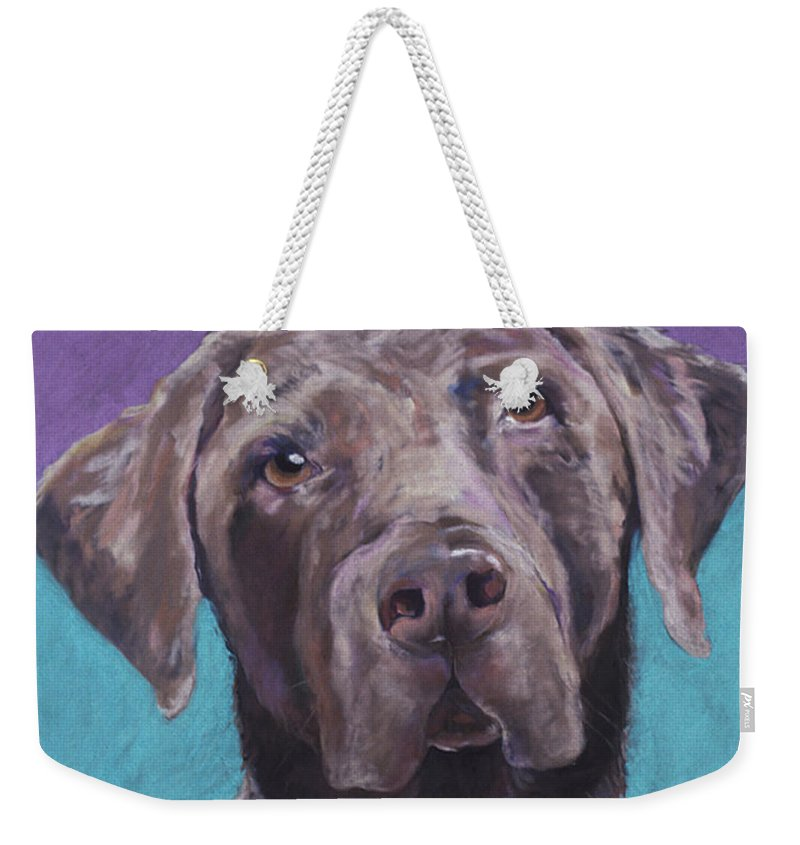 Pet Portrait Commissions Weekender Tote Bag featuring the pastel 100 Lbs. Of Chocolate Love by Pat Saunders-White