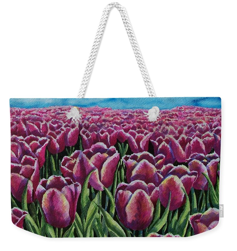 Tulips Weekender Tote Bag featuring the painting 1000 Tulpis by Conni Reinecke