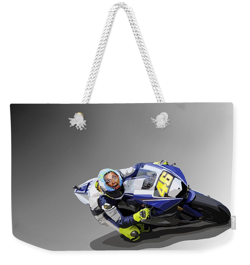 Motorbike Weekender Tote Bag featuring the digital art 102. No. 46 by Tam Hazlewood
