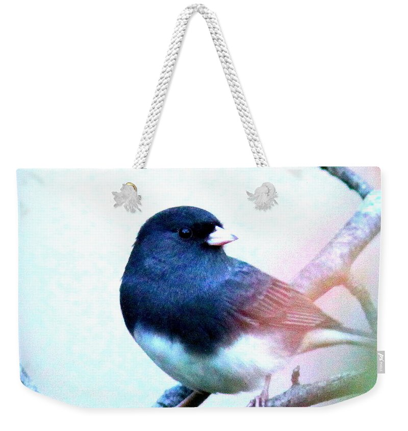 Junco Weekender Tote Bag featuring the photograph 1052 - Junco by Travis Truelove