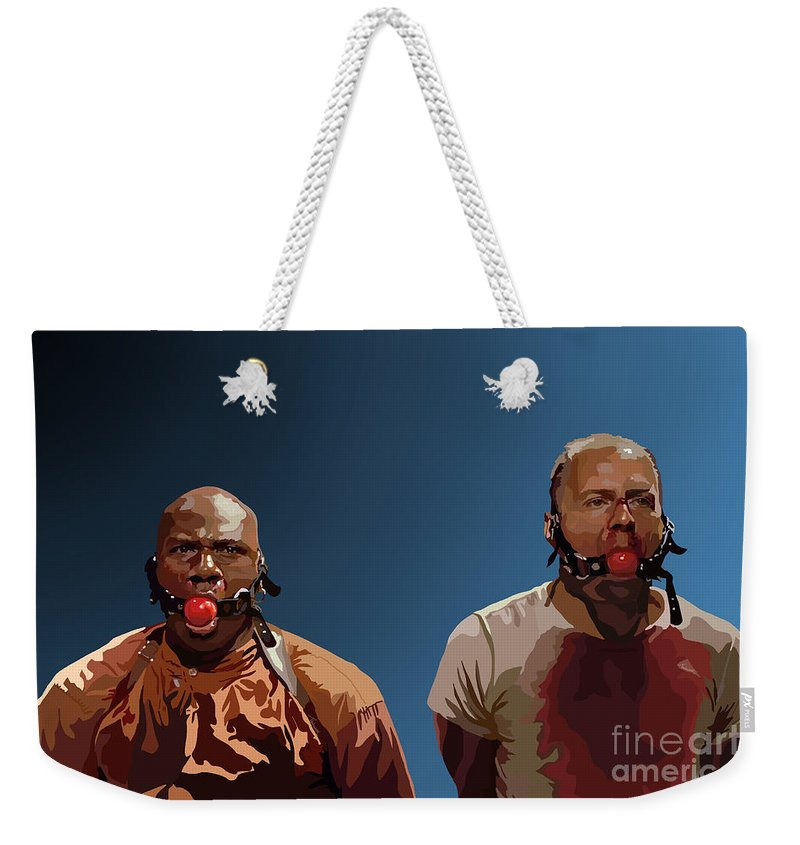 Pulp Fiction Weekender Tote Bag featuring the digital art 106. Eenie Meany Miney Moe... by Tam Hazlewood