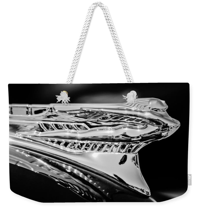 1946 Desoto Weekender Tote Bag featuring the photograph 1946 Desoto Hood Ornament -169bw by Jill Reger