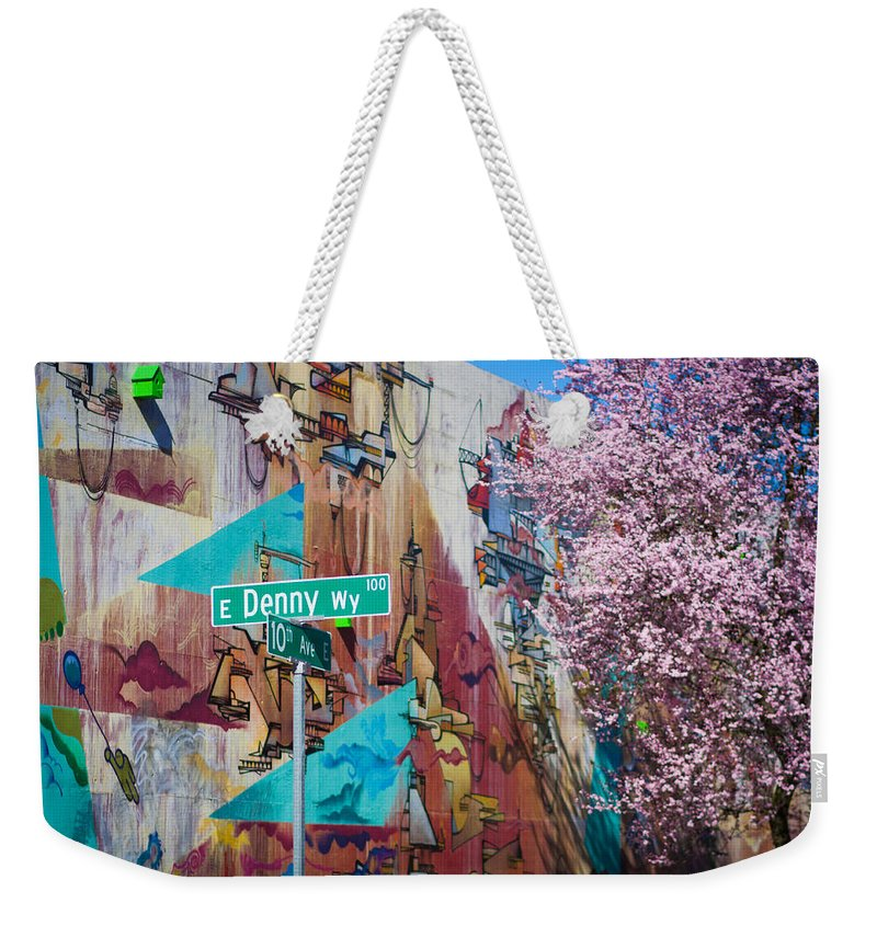 Street Weekender Tote Bag featuring the photograph 10th And Denny by Ashlyn Gehrett