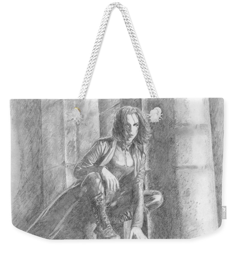 Underworld Weekender Tote Bag featuring the drawing 11 by Kristopher VonKaufman
