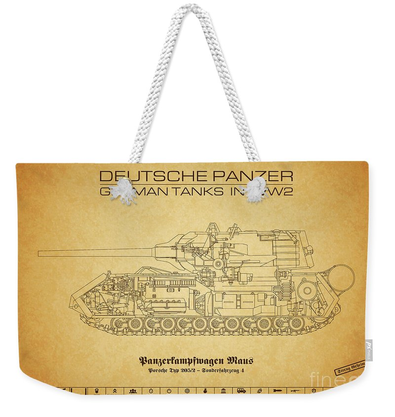 Panzer Of The German Wehrmacht - Blueprint Weekender Tote Bag featuring the digital art Panzerkampfwagen Maus by Marcel Thomas