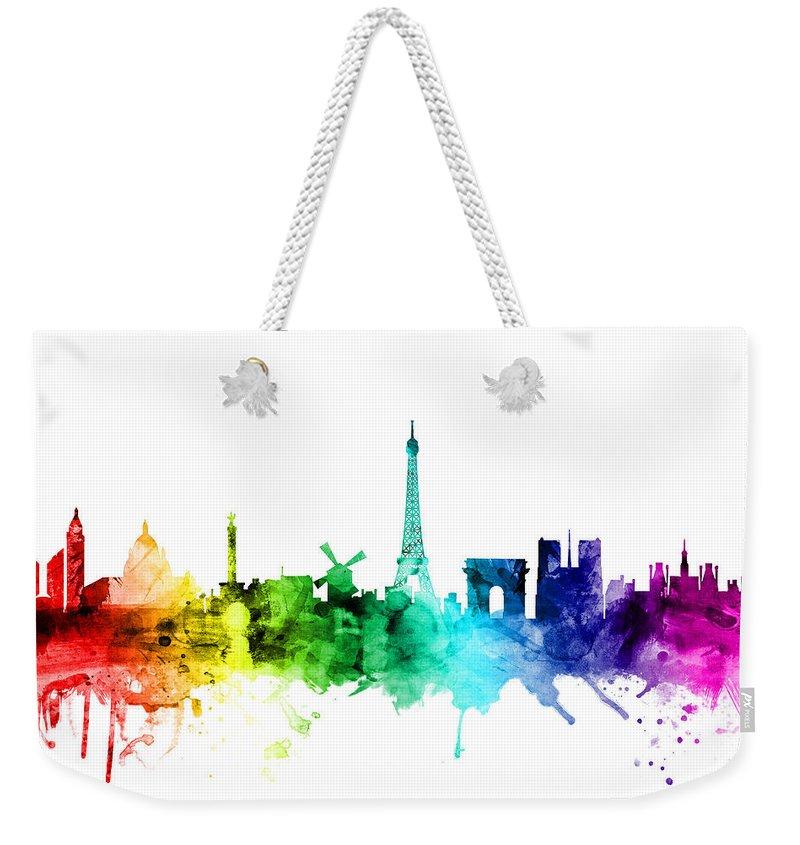 Paris Weekender Tote Bag featuring the digital art Paris France Skyline by Michael Tompsett