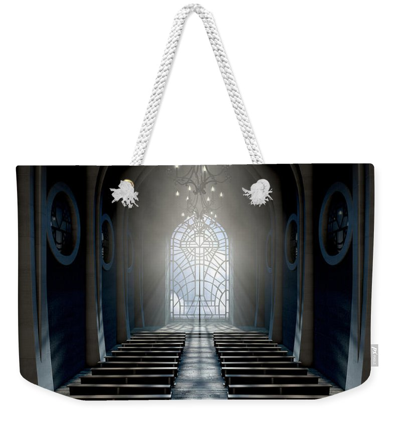 Church Weekender Tote Bag featuring the digital art Stained Glass Window Church by Allan Swart