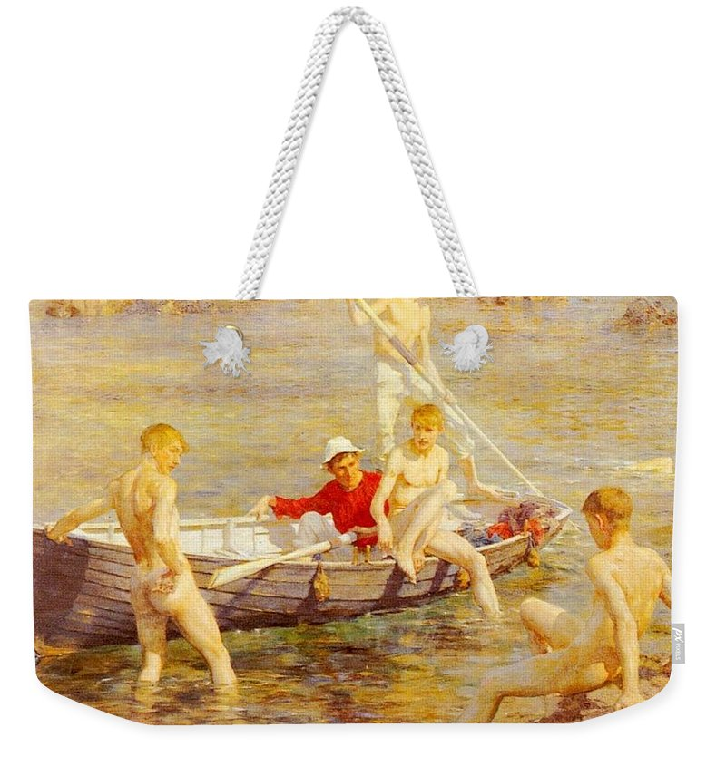 Canal Weekender Tote Bag featuring the digital art Tuke Henry Scott Ruby Gold And Malachite Henry Scott Tuke by Eloisa Mannion