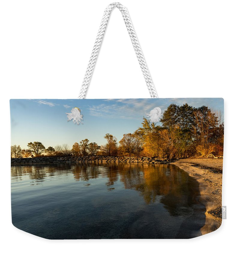 Georgia Mizuleva Weekender Tote Bag featuring the photograph Autumn Beach - The Splendor Of Fall On The Shores Of Lake Ontario by Georgia Mizuleva