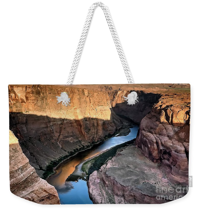 Colorado Weekender Tote Bag featuring the photograph 1118 Down River by Steve Sturgill