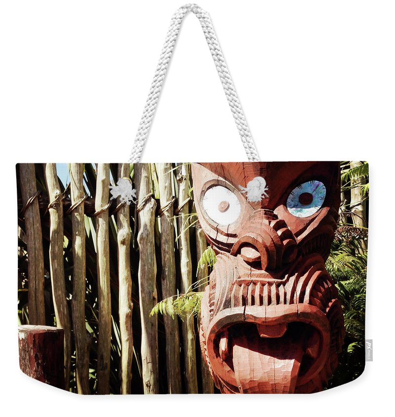 Art Weekender Tote Bag featuring the photograph Maori Carving by Les Cunliffe