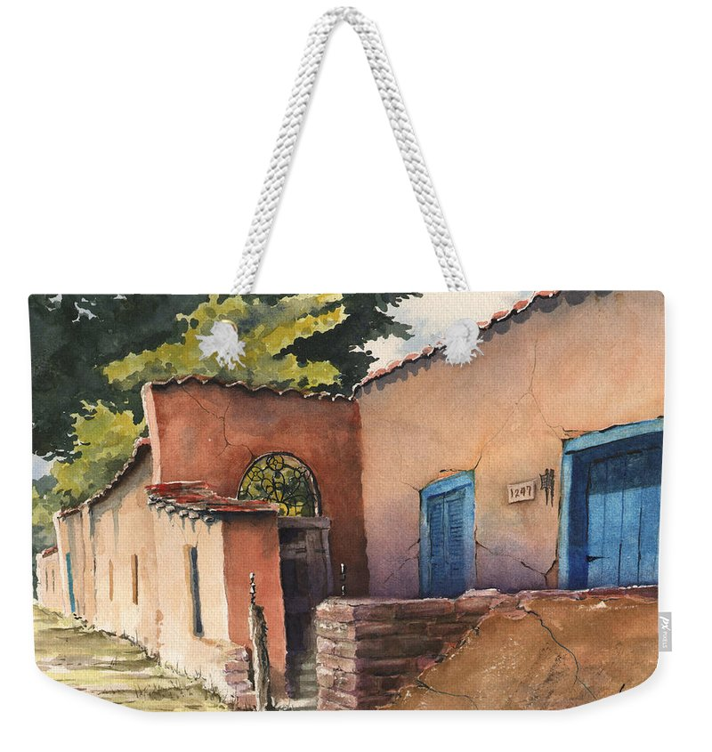Adobe Weekender Tote Bag featuring the painting 1247 Agua Fria Street by Sam Sidders