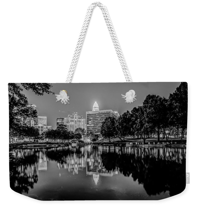 2012 Weekender Tote Bag featuring the photograph Charlotte City Skyline Night Scene by Alex Grichenko