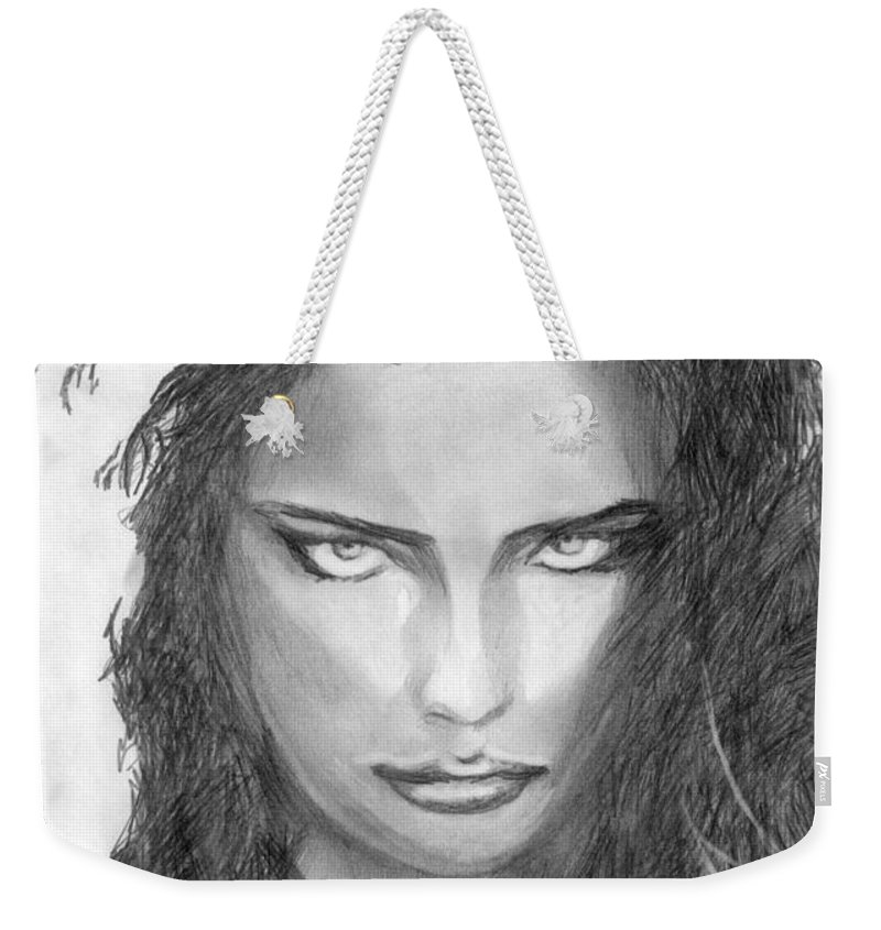 Adriana Lima Weekender Tote Bag featuring the drawing 13 by Kristopher VonKaufman